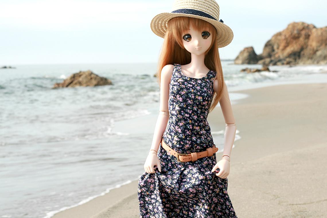 スマートドール用ワンピース「太陽のドレス San Dress Floral Blue」